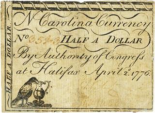 North Carolina April 1776 50 cent note