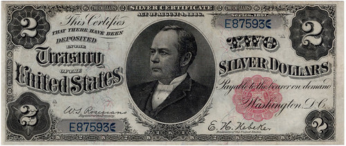 NA sale 65 Lot 1329 2 Dollar Silver Certificate Series 1891 VF25 PMG