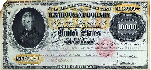 NA sale 65 Lot 1350 10 Thousand Dollar Gold Certificate Uncancelled EF