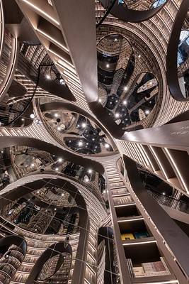 Escheresque bookstore mirrored ceiling