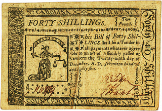 North Carolina December 29, 1785 40 Shillings face