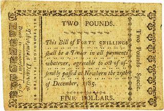 North Carolina December 29, 1785 40 Shillings back