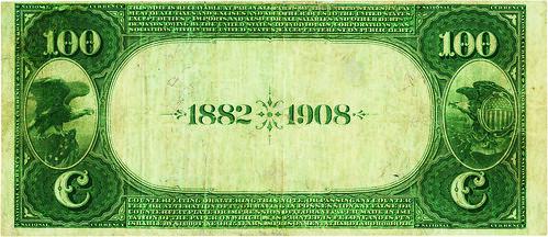 1882 Murchison National Bank Date Back $100 back
