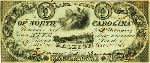 Bank of the State of North Carolina $5 face