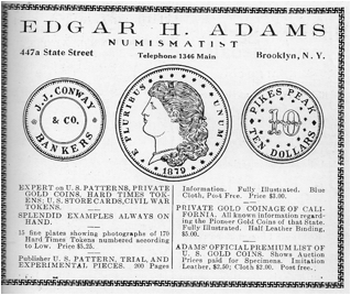 Edgar Adams Numismatist ad