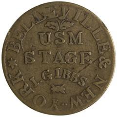 1831 John Gibbs stage token obverse