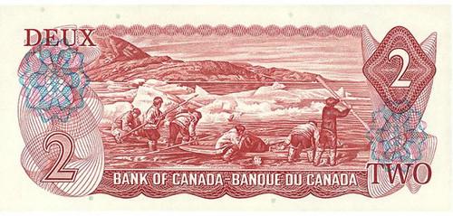 1975 Canada two dollar bill back