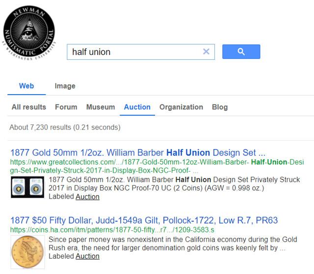 NNP CSE half union auction search results