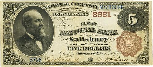 Salisbury, NC 1882 Brown Back $5 face