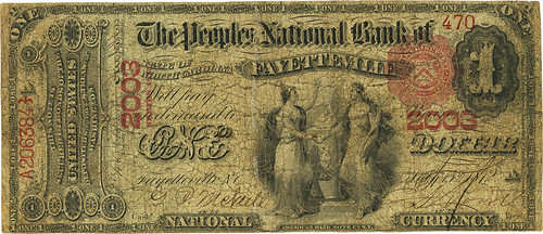 1875 Fayetteville, NC Peoples National Bank $1 face