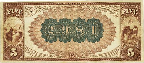 Salisbury, NC 1882 Brown Back $5 back