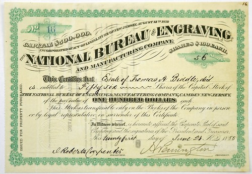 National Bureau of Engraving Stock Certificate