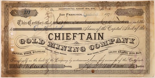 Chieftain Gold and Silver Mining Company Stock