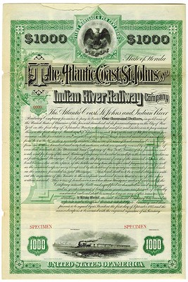 Atlantic Coast, St. Johns and Indian River Railway Co bond