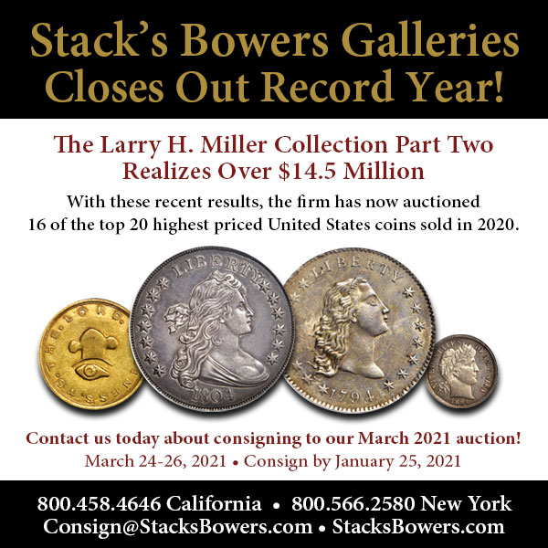Stacks-Bowers E-Sylum ad 2020-12-20 Record Year
