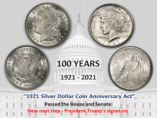 1921 Silver Dollar Coin Anniversary Act Last Step
