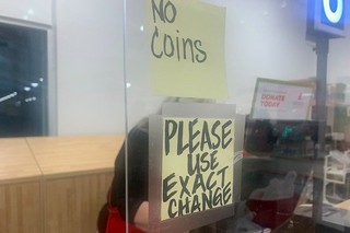 Please use exact change sign
