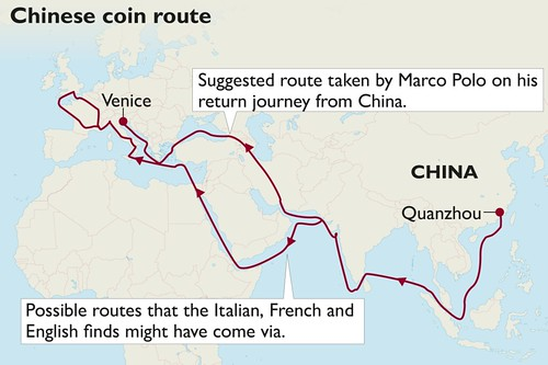chinese coin route to England