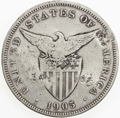 Chopmarked 1905-S Philppines Peso reverse