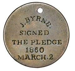 1840s Temperance Movement Pledge Token reverse