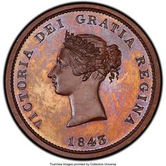 1843 New Brunswick One Penny Token obverse