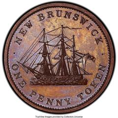 1843 New Brunswick One Penny Token reverse