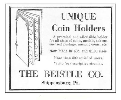 Beistle Unique coin holders ad Numismatist December 1928