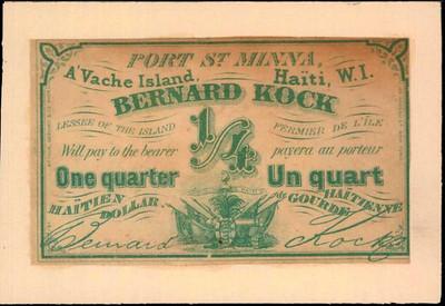 1863 Haiti Bernard Kock Quarter Gourde scrip note
