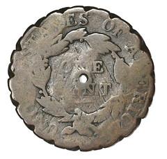MACKRELL-RICHARDSON 1819 counterstamped Large Cent pie crimper reverse