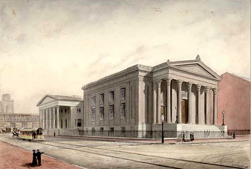 Benjamin Evans 1881 view of 2nd Philadelphia Mint and church