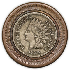 Large Cent Inlaid with an Indian Head Cent