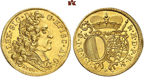 1708 Augsburg Gold Two Ducats