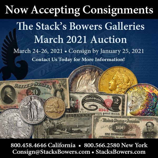 Stacks-Bowers E-Sylum ad 2021-01-17 Consign