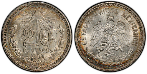 Mexico 1907-M Curved 7 20 Centavos