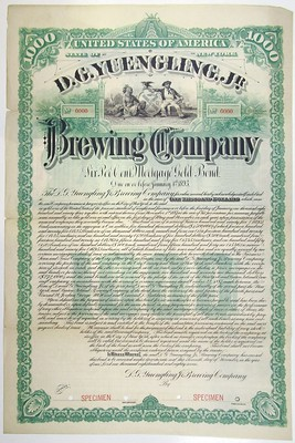 1887 Yuengling Brewing Company bond