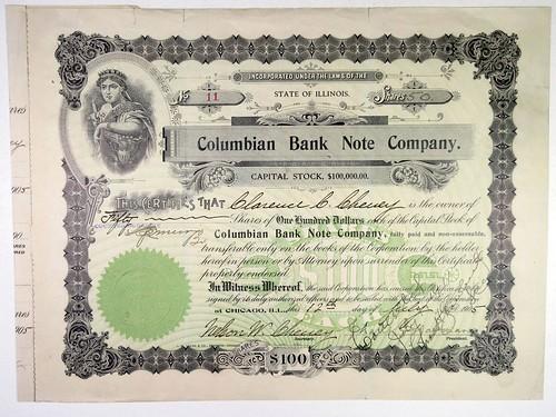 Columbian Bank Note Co. Stock Certificate