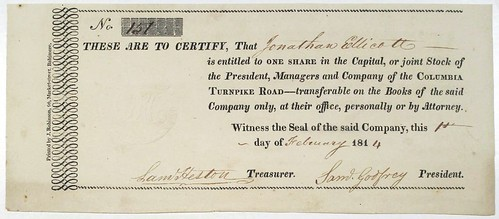 Columbia Turnpike Road Stock Certificate