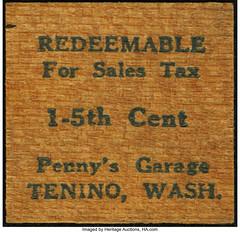Tenino Wooden Sales Tax Chit Penny's Garage obverse