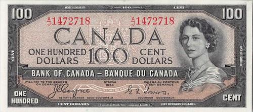 1954 Canada Devil's Face $100 banknote