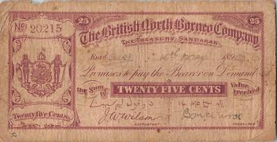 1903 British North Borneo 25 Cent note