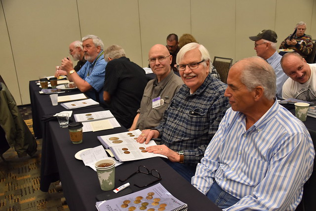 Right-to-left Roger Siboni, Syd Martin, Jack Howes, XXX, Ray WIlliams, others at Baltimore coin auction