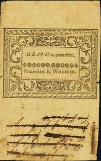 Rhode Island June 1780 20 Shillings back