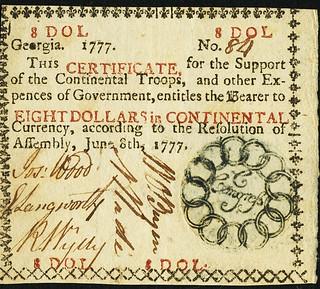Georgia June 8, 1777 $8 Red front