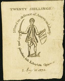 Massachusetts August 18, 1775 20 Shillings back