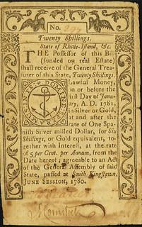 Rhode Island June 1780 20 Shillings front