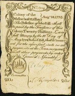Massachusetts August 18, 1775 20 Shillings front