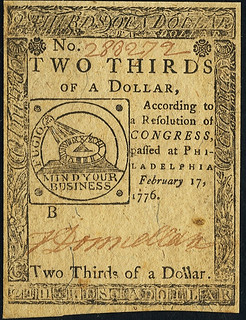 Continental Currency February 17, 1776 $2-3 front