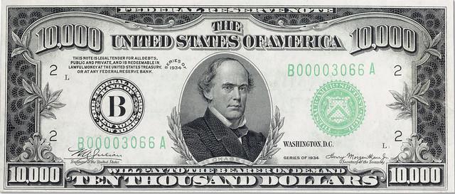 Rau $10,000 bill face
