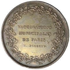 1814 municipal vaccination medal reverse