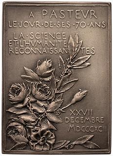 1892 Louis Pasteur silver plaque reverse
